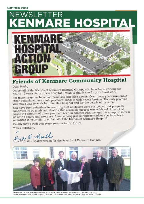 Letter from Úna O'Neill, Spokesperson for the friends of Kenmare Hospital to Senator Mark Daly, in thanks for his campaign and support