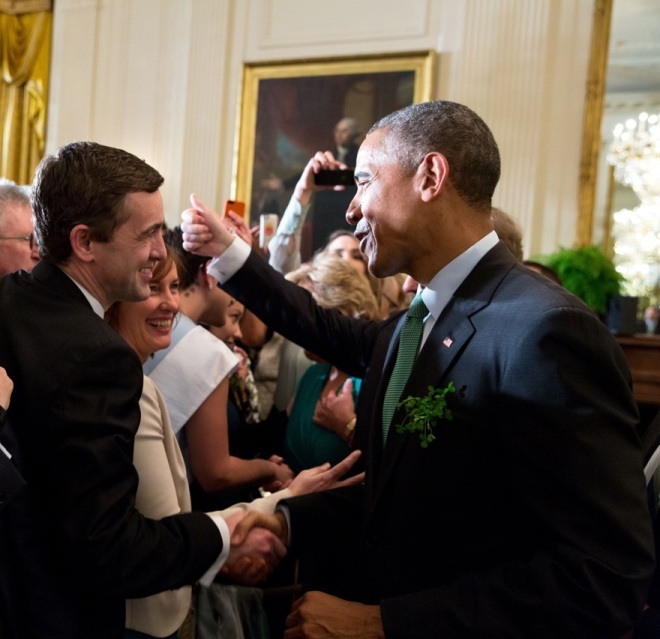 Mark meets US President Obama at the Saint Patrick's Day celebrations at the White House, 17th March 2014.