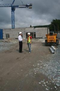 Mark Daly with Kevin McAllen of McAllen Building Service at the Construction of the new Kenmare Hospital