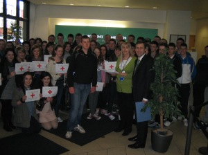 Senator Daly with Students from Pobail Scoil Inbhear Sceine at Dept of Health