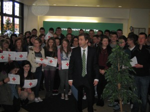 Senator Mark Daly and Students from Pobail Scoil