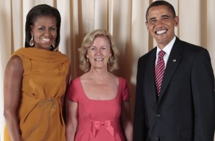 Anne Anderson with President and Mrs. Obama during a reception at the Metropolitan Museum in New York in 2009. Photo by The White House