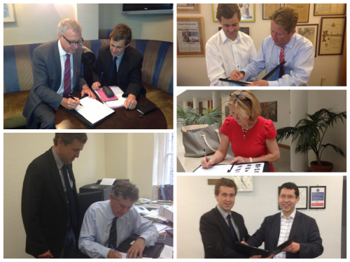 Senator Daly with Senators signing the letter (Clockwise from Left) Professor John Crown, Senator [and FF Leader in the Seanad] Darragh O'Brien, Senator Mary O'Brien, Senator Ronan Mullen, and Senator Sean Barrett