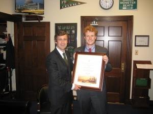 Senator Daly presents Congressman Joe Kennedy with a Certificate of Irish Heritage