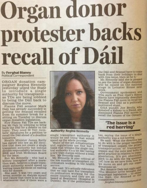 Transplant Recipient Regina Hennelly speaking to the Irish Daily Mail, 15 August 2013