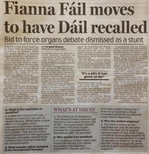 Irish Daily Mail, p. 17, Wednesday 14th August 2013