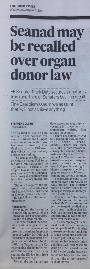 Article in the Irish Times, Wednesday August 7th, regarding the recall of the Seanad