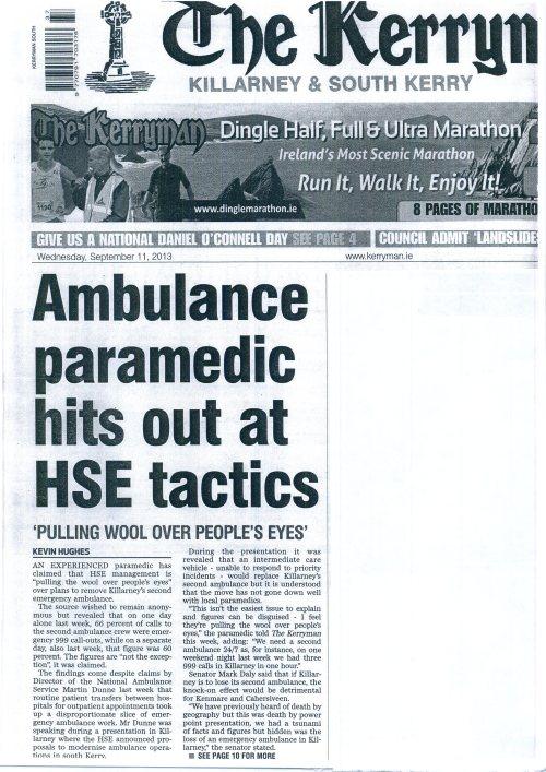 Front Page of Kerryman Ambulance Article002