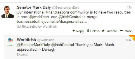 world irish and irish central merger tweet