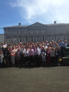 Senator Mark Daly and members of the Irish Deaf Society meet at Leinster House after being present in the Seanad and the Dáil