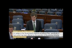 Speaking in the Seanad on Broadband Services