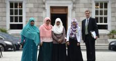 Meeting with the Halawa sisters from left; Nosayba, Fatima, Omaima and Somaia Halawa at Leinster House, Dublin.