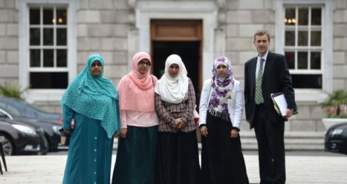 Meeting with the Halawa sisters from left; Nosayba, Fatima, Omaima, and Somaia Halawa at Leinster House, Dublin.