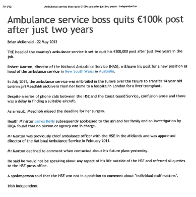 Ambulance Service boss quits €100k post after just two years
