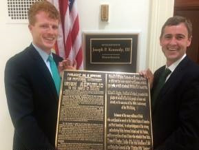 Congressman Joe Kennedy III and Senator Mark Daly with the plaque to be places in the Washington Monument